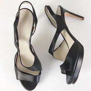Jil Sander Black Leather Strappy Platform Heels